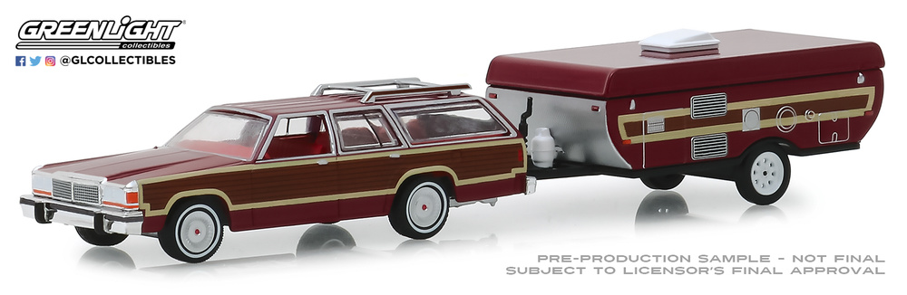 Ford LTD Country Squire + Carabana Plegable (1981) Greenlight 32160C 1/64
