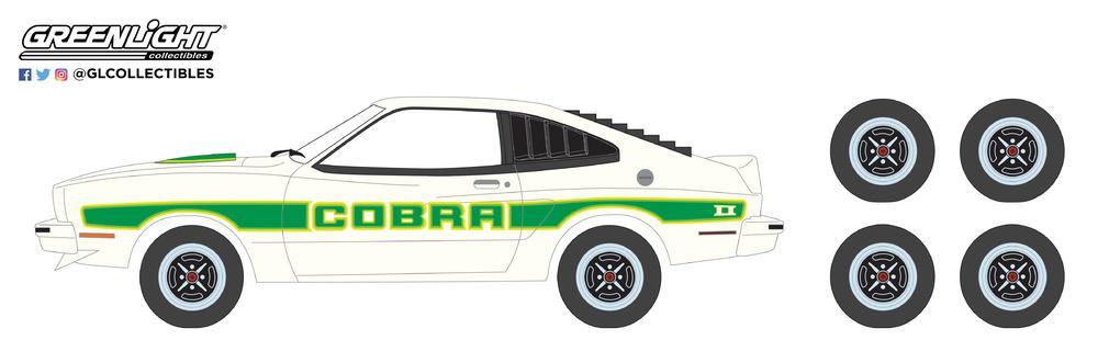 Ford Mustang II Cobra II con juego de 4 llantas y neumáticos (1978) Greenlight 97050E 1/64