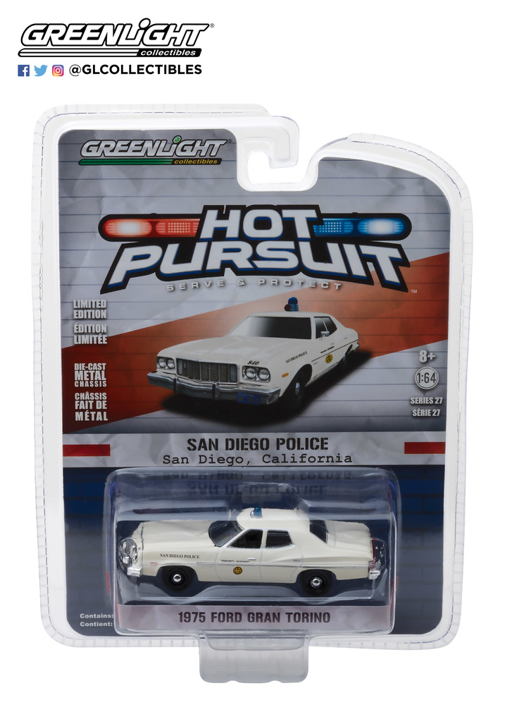 42840-A - 1-64 Hot Pursuit 27 - 1975 Ford Torino - San Diego California Police