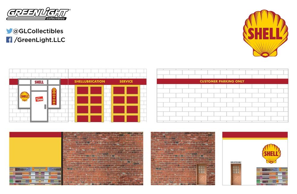 Garajes con Gasolinera Shell Greenlight 57021 1/64