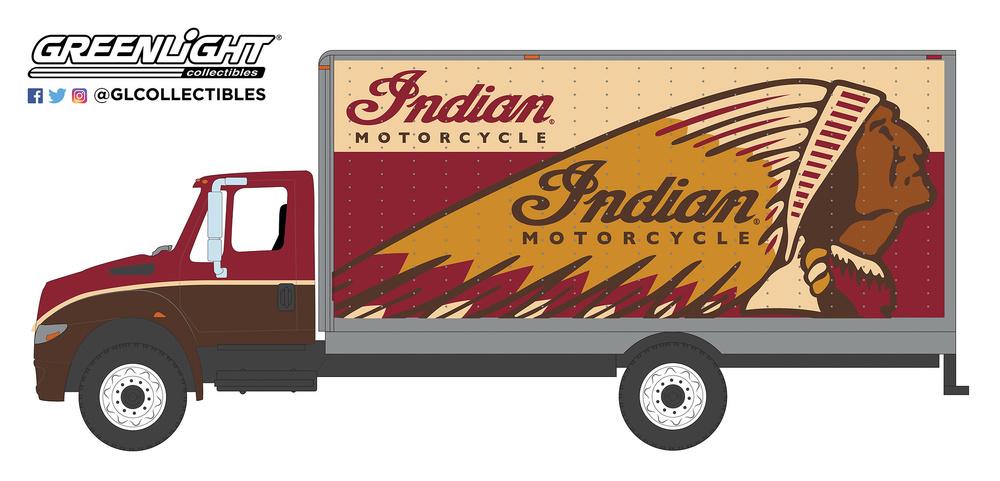 International Durastar Box Van - Indian Motorcycle (2013) Greenlight 33170A 1/64