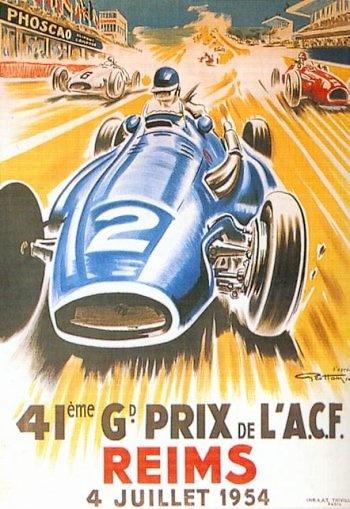 Poster GP. F1 Francia 1954