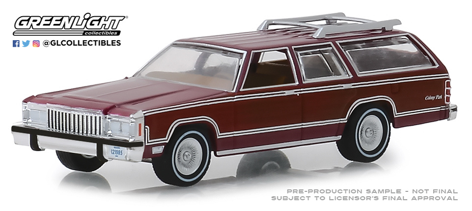 29950-F 1:64 Estate Wagons Series 3 - 1985 Mercury Grand Marquis Colony Park - Burgundy Solid Pack