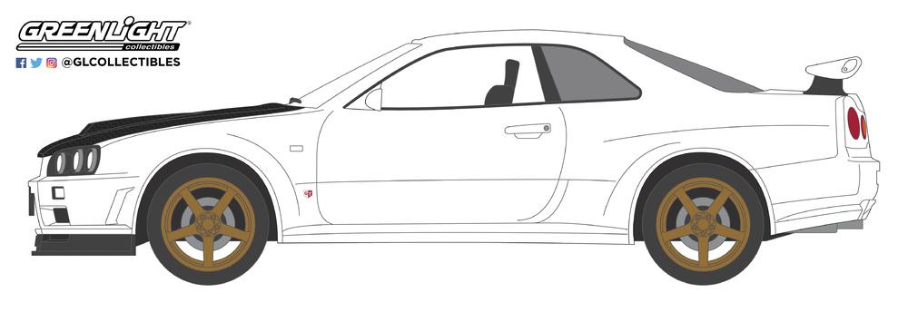 Nissan Skyline GT-R (BNR34) V-Spec II White with Z-Tune Hood (2001) Greenlight 47030E 1/64