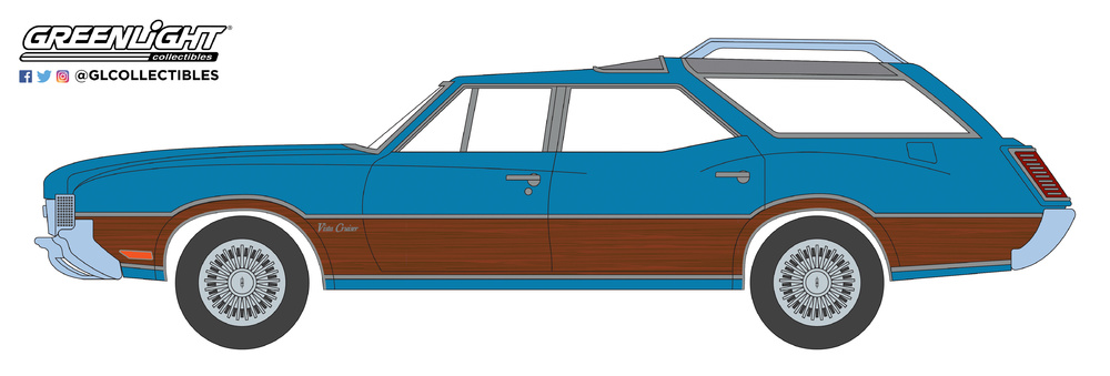 29950-D 1:64 Estate Wagons Series 3 - 1972 Oldsmobile Vista Cruiser - Viking Blue and Woo