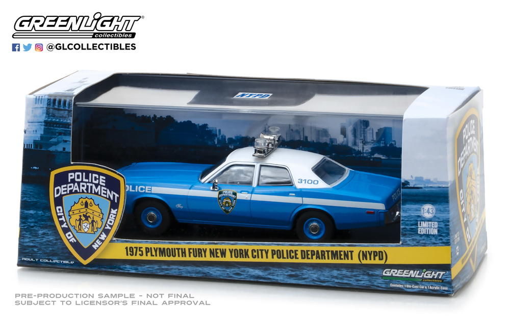 Plymouth Fury Policia de New York NYPD (1975) Greenlight 86535 1/43