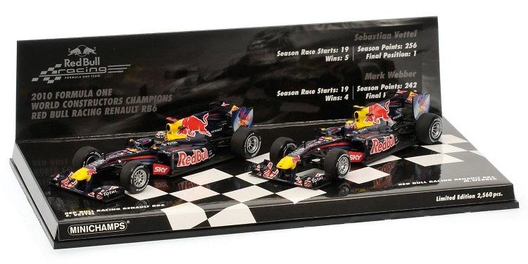 Set 2 Red Bull RB6 Sebastian Vettel y Mark Webber (2010) Minichamps 1/43