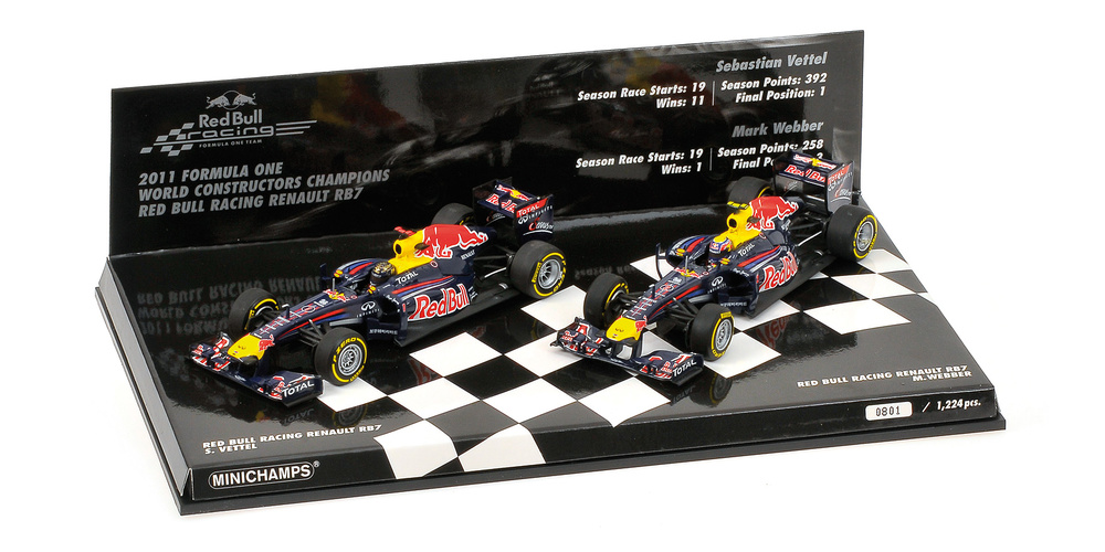 Set 2 Red Bull RB7 Titulo de Constructores (2011) Minichamps 412110102 1:43
