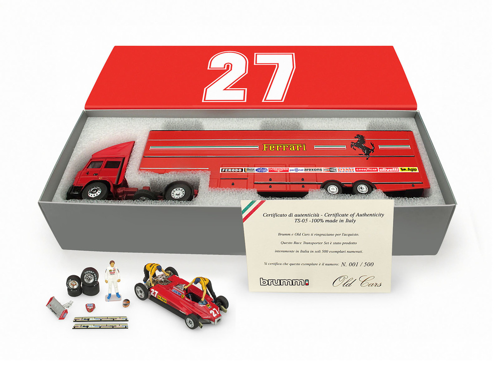 Set Transporte Fiat Iveco 190 + Ferrari 126 C2 y figuras (1982) Brumm TS05 1:43