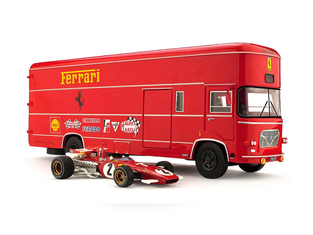 Set Transporte OM 160 Rolfo Escuderia Ferrari + 1 Ferrari 312B T-Car nº 2 J. Ickx (1970) Brumm TS04 1:43