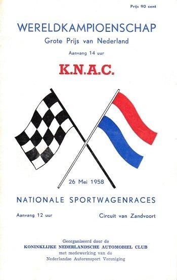 Poster GP. F1 de Holanda de 1958