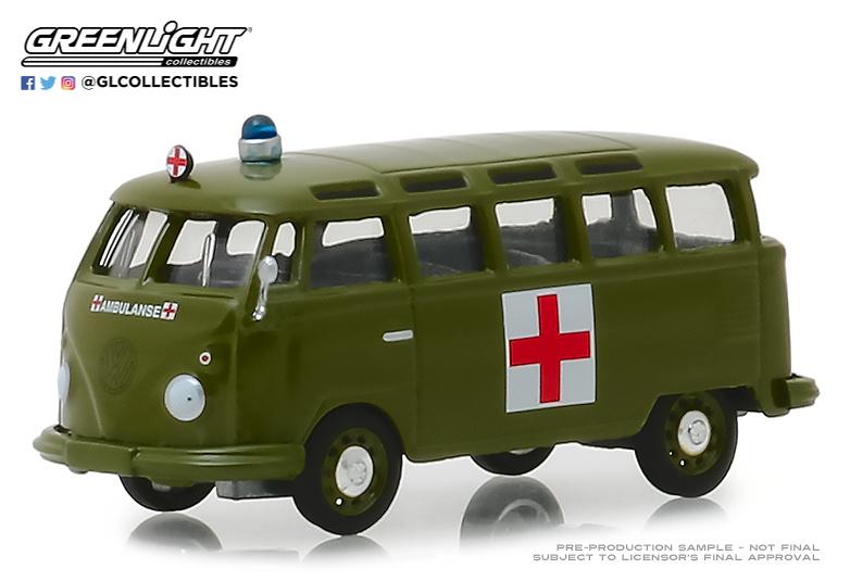 Volkswagen T1 Samba Ambulancia del ejercito (1964) Greenlight 29940A 1/64