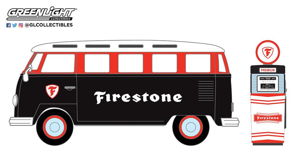 "97060-A 1:64 The Hobby Shop Series 6 - 1964 Volkswagen Samba Bus ""Firestone"" with Firestone Gas Pump"
