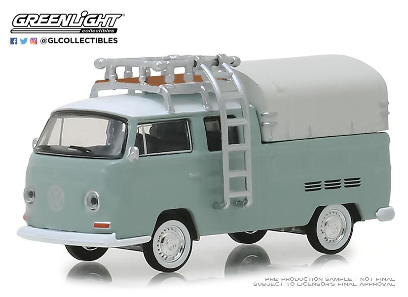 Volkswagen T2 Cabina doble con toldo y baca (1974) Greenlight 29940D 1/64
