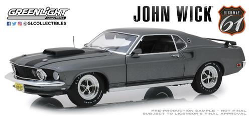 Ford Mustang Boss 429 1969 John Wick gris metalizado maqueta de coche 1:43 GreenLight