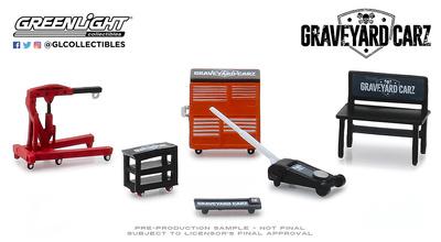 """Conjunto de herramientas """"Graveyard  Carz"""" Greenlight 1/64"""