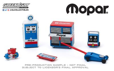 """Conjunto de herramientas de taller """"MOPAR"""" Greenlight 1/64"""