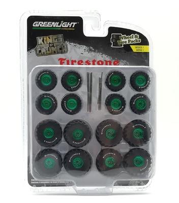 "Conjunto de ruedas y neumáticos ""Firestone Kings of Crunch"" Green Machine 1/64"