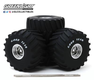 """Conjunto de ruedas y neumáticos Goodyear de 66"""" Greenlight 1/18"""