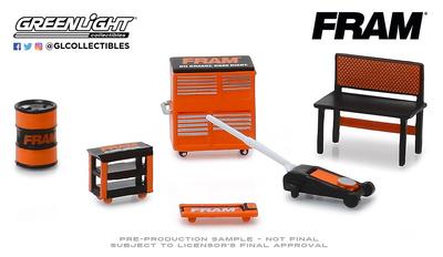 """Conjunto herramientas de taller """"FRAM"""" Greenlight 1/64"""