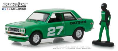 Datsun 510 nº 27 con figura de piloto (1970) Greenlight 1/64