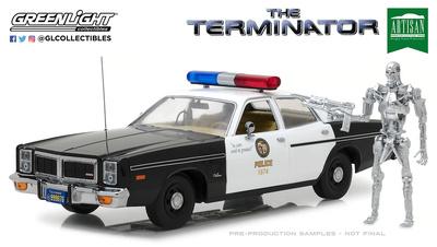 """Dodge Mónaco - Policía Metropolitana """"Terminator"""" con figura (1977) Greenlight 1/18"""