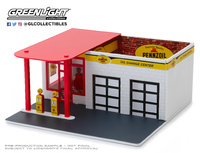 "Edificio Gasolinera vintage ""Pennzoil"" Greenlight 1/64"