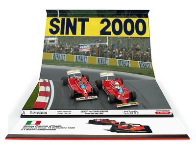 "Ferrari 126C turbo ""GP. Italia"" nº 2 Gilles Villeneuve y Ferrari 312 T5 nº 1 Jody Scheckter (1980) Brumm 1:43"