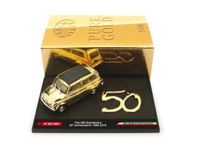 """Fiat 500 Giardiniera """"Lingotto d'oro 50 anni"""" (1960-2010) Brumm 1/43"""