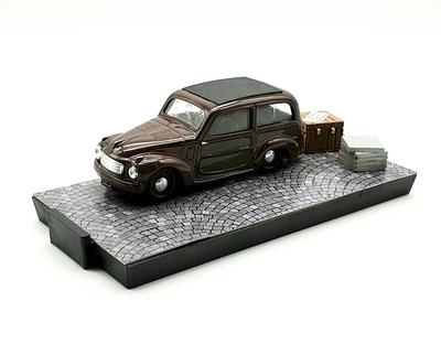 """Fiat 500C Belvedere """"Cinema Piansano"""" 100 ANNI DI STORIA DELL'AUTOMOBILE (1955) Brumm 1/43"""