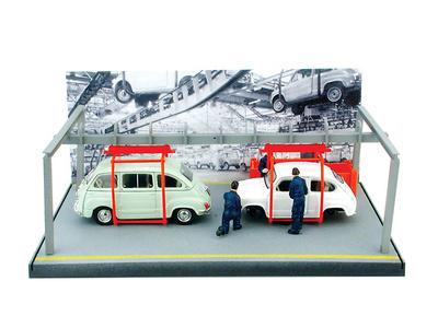 Fiat 600 x2 y cadena de Montaje (1964) Brumm 1/43
