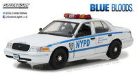 "Ford Crown Victoria Interceptor NYPD ""Blue Bloods"" (2010) Greenlight 1/18"