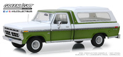 Ford F-100 Verde metalizado con caja trasera blanca (1975) Greenlight 1/18