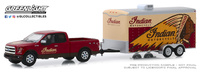 "Ford F-150 ""Indian Motorcycle"" con remolque de transporte (2017) Greenlight 1/64"