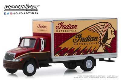 """International Durastar Box Van """"Indian Motorcycle"""" (2013) Greenlight 1/64"""