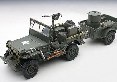 Jeep Willys con remolque (1945) Autoart 1:18