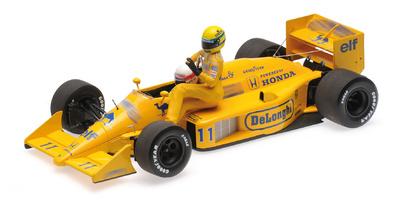 """Lotus 99T """"GP. Italia"""" nº 11 con figuras de Ayrton Senna y Satoru Nakajima (1987) Minichamps 1/18"""