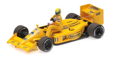 """Lotus 99T """"GP. Italia"""" nº 11 con figuras de Ayrton Senna y Satoru Nakajima (1987) Minichamps 1/43"""