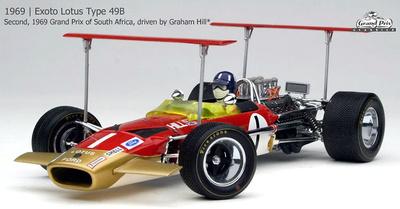 """Lotus-Ford 49B """"GP. Sudáfrica"""" nº 1 Graham Hill (1969) Exoto 1/18"""