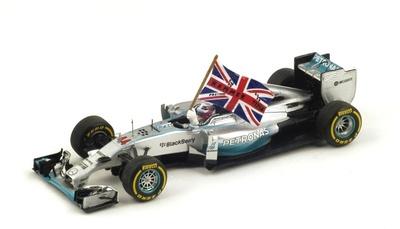 "Mercedes W05 ""1º GP. Abu Dhabi"" con bandera nº 44 Lewis Hamilton (2014) Spark 1:43"