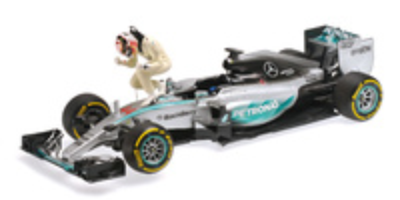 "Mercedes W06 ""GP. USA"" nº 44 Lewis Hamilton con figura (2015) Minichamps 1:18"