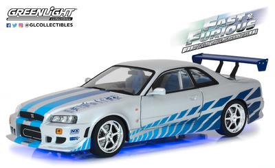"Nissan Skyline GT-R -R34- ""Fast & Furious"" (1999) con luces (NEON AZUL) Greenlight 1/18"