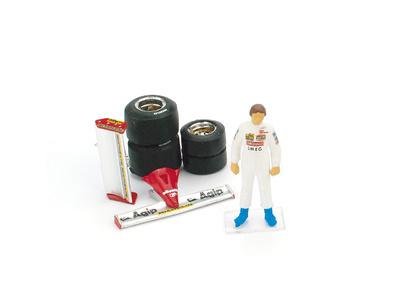 Piloto Gilles Villeneuve + Alerones + Juego de Neumáticos (1981) Brumm CH01T 1/43