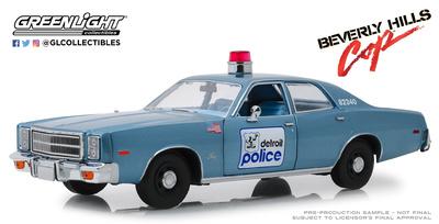 """Plymouth Fury Policía de Detroit """"Superdetective en Hollywood"""" (1984) Greenlight 1/18"""
