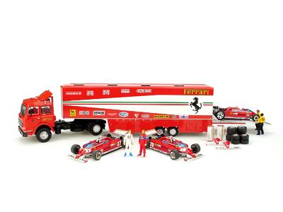 "Set Fiat 170 + Ferrari 126CK + Figuras Gilles Villeneuve y Didier Pironi ""GP. Monaco"" (1981) Brumm 1/43"