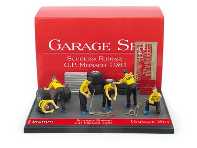 """Set Garage de 6 mecánicos con accesorios Escudería Ferrari """"GP. Mónaco"""" (1981) Brumm 1:43"""