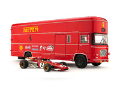 Set Transporte OM 160 Rolfo Escuderia Ferrari + 1 Ferrari 312B T-Car nº 2 J. Ickx (1970) Brumm 1:43