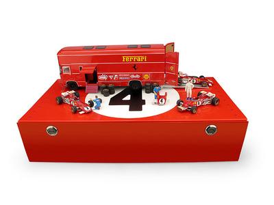 "Set Transporte OM 160 Rolfo Escuderia Ferrari + 3 Ferrari 312B ""G.P. Italia"" (1970) Brumm 1:43"