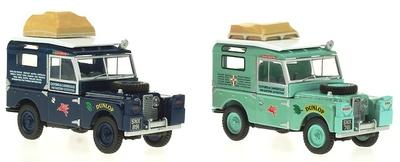 """Set de 2 Land Rover Serie I 88 """"Expedición Londres-Singapur"""" (1955) Oxford 1/43"""