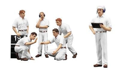 "Set de 6 figuras F1 Pit Crew  ""Clásicas blancas"" (1977) True Scale Model 1/18"